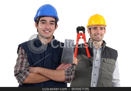 duo of craftsmen holding tools stock photo, duo of craftsmen holding tools by photography33
