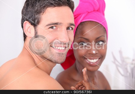 Couple in the bathroom stock photo, Couple in the bathroom by photography33
