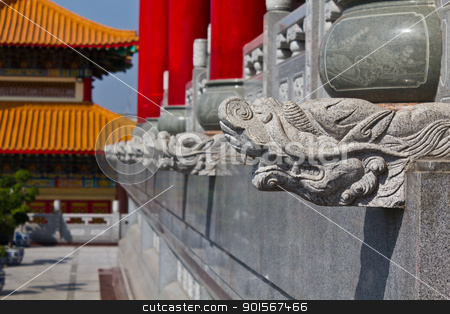 Head of dragon statue  chinese style stock photo, Head of dragon statue  chinese style in temple Thailand by Lavoview