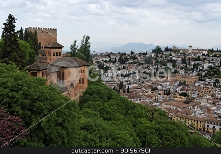Bastions of Alhambra castle on the hill above the town of Granada, Spain stock photo, Bastions of Alhambra castle on the hill above the town of Granada, Spain by Shlomo Polonsky