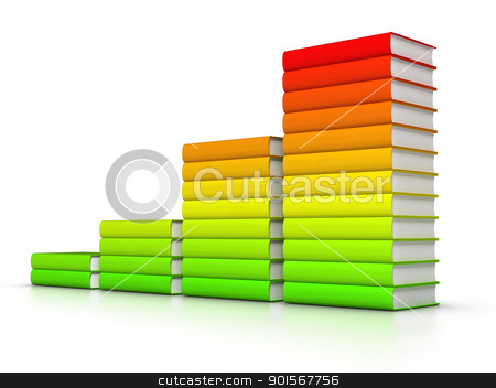 Colorful books graph stock photo, 3D rendered row of colourful books chart. by ayzek
