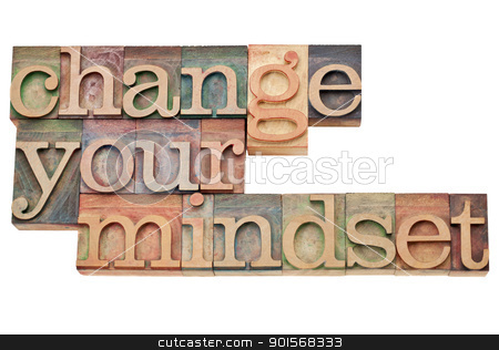 Change your mindset stock photo, Change your mindset - isolated motivational phrase in vintage letterpress wood type by Marek Uliasz