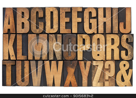 alphabet in letterpress wood type stock photo, 26 letters of English alphabet, question mark and ampersand - antique letterpress wood type printing blocks with ink patina by Marek Uliasz