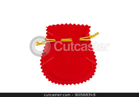 Red velvet bag stock photo, Red velvet bag isolated on white background by Lavoview