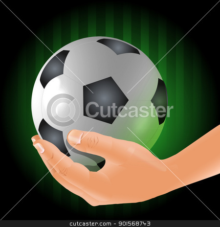 Soccer player holds a ball stock photo, Soccer player male holding glossy football ball vector illustration by Ekaterina