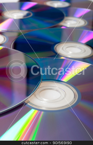 Compact Discs Background stock photo, Background of Many Shiny CD Compact Disc by JAMDesign