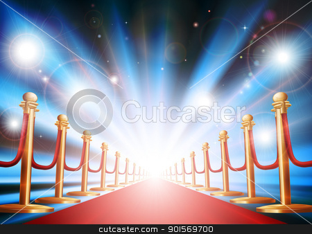 Grand entrance with red carpet and flash lights stock vector clipart, A grand entrance with red carpet, velvet rope and photographers flash lights going off  by Christos Georghiou