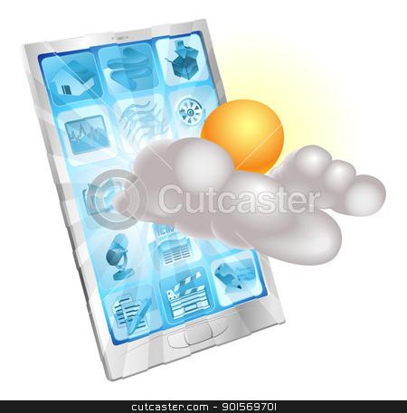 Weather mobile phone application concept stock vector clipart, Weather sun and cloud icon coming out of phone screen concept by Christos Georghiou