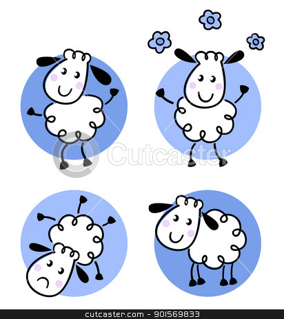 Cute doodle sheep collection isolated on white stock vector clipart, Happy doodle sheep set. Vector cartoon by BEEANDGLOW