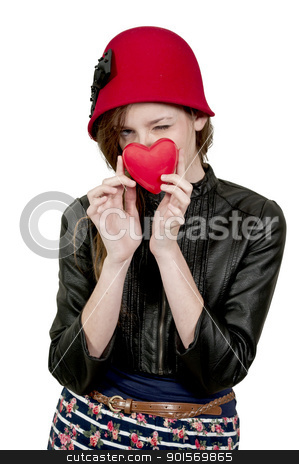 Valentines Day Heart Woman stock photo, A beautiful young woman holding a Valentines Day heart by Robert Byron