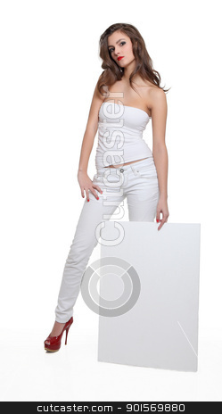 Young brunette showing a blank board stock photo, Young brunette showing a blank board on isolated white background by azmo31