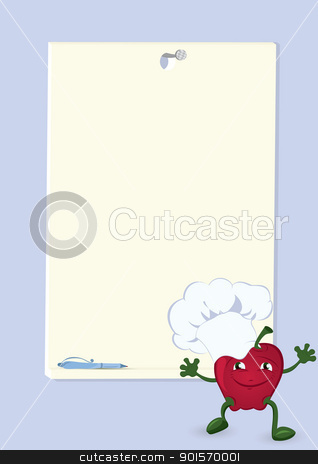 Apple-cartoon-character-near-menu-board stock vector clipart, Apple cartoon character near  menu board vector illustration  by Zebra-Finch
