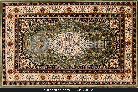 Arabic rug with floral pettern  stock photo, Arabic rug with floral pettern  by Shlomo Polonsky