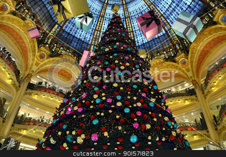 Galeries Lafayette in christmas. stock photo, Paris - France Galeries Lafayette in christmas. by jmffotos