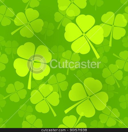 Four-Leaf Clover Pattern stock vector clipart, Green Seamless Pattern with Clover leaves for infinite luck by Vitezslav Valka