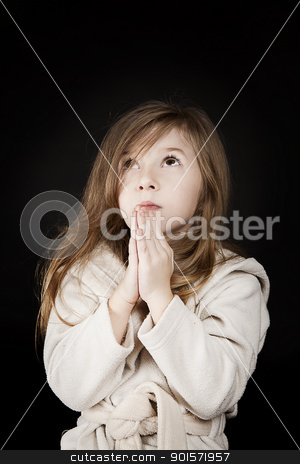 praying girl stock photo, little blond girl sending her message to God by photomim