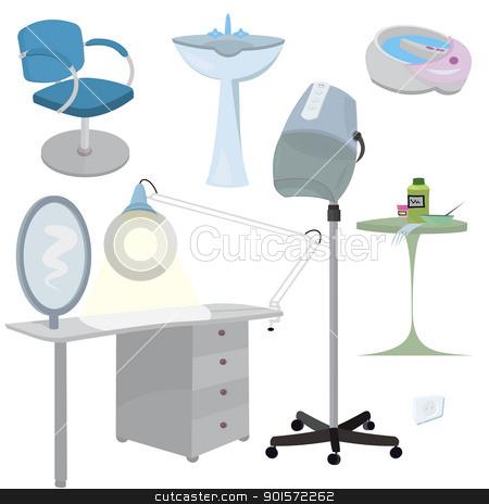 Beauty salon furniture  icon set   stock vector clipart, Beauty salon furniture  icon set   by Zebra-Finch