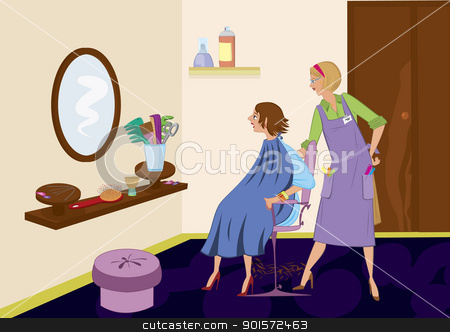 Beauty salon brunet looking in the mirror after hair cut stock vector clipart, Beauty salon brunet looking in the mirror after hair cut by Zebra-Finch