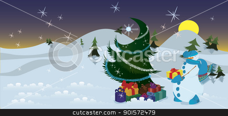 Snowman with presents near the Christmas tree banner stock vector clipart, Snowman with presents near the Christmas tree the night  by Zebra-Finch
