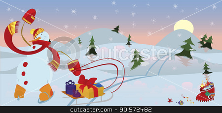 Snow man in red scarf banner stock vector clipart, Snow man in red scarf in the morning  banner   by Zebra-Finch