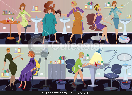 Beauty salon  banner hair blow drying stock vector clipart, Beauty salon  workers and clients in different situations by Zebra-Finch