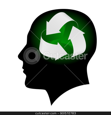 Ecology symbol in human head stock photo, Ecology symbol in human head. Illustration on white background  for design by dvarg
