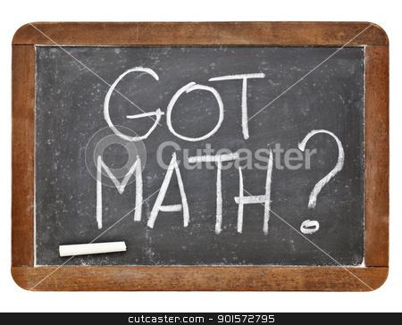 Got math question stock photo, Got math question - white chalk handwriting on vintage slate blackboard isolated on white by Marek Uliasz