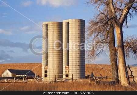 abandoned farm in Colorado stock photo, buildings of abandoned farm with twin silos near Fort Collins, Colorado by Marek Uliasz