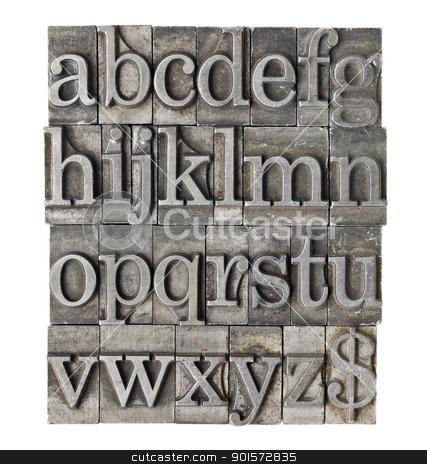 alphabet in grunge meta type stock photo, English alphabet (lowercase) and dollar sign in vintage grunge lwtterpress metal type by Marek Uliasz