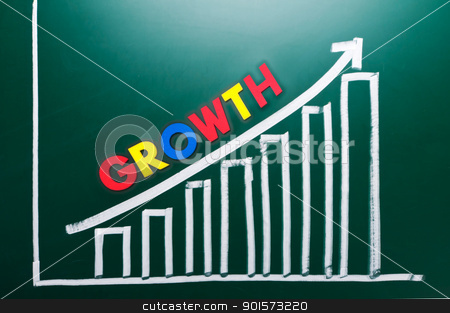Growth concept with words and drawing chart  stock photo, Growth concept with colorful words and drawing chart on blackboard by Lawren