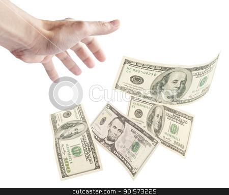 Human hand want to grab floating banknotes stock photo, Human hand want to grab floating banknotes, isolated on white background. by Lawren