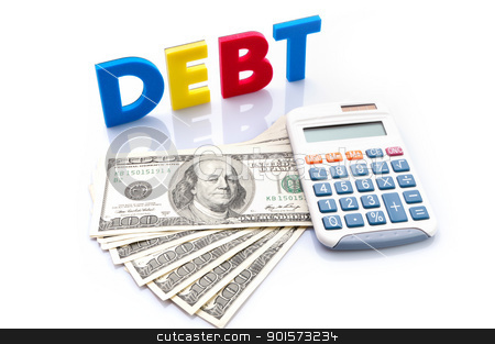 Debt words, American banknotes and calculator stock photo, Debt words, American banknotes and calculator on white background  by Lawren