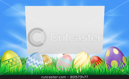 Easter sign stock vector clipart, Easter sign illustration in meadow with sun rays and decorated Easter eggs by Christos Georghiou