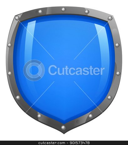 Blue shiny glossy shield stock vector clipart, A glossy, shiny blue shield illustration. Concept for defence or security.  by Christos Georghiou