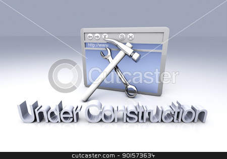 Under Construction stock photo, 3D Illustration. Website is under construction. by Michael Osterrieder