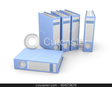 File Folders stock photo, 3D rendered Illustration. Isolated on white. by Michael Osterrieder