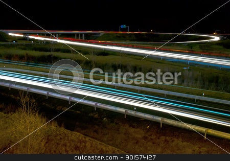 Blurred lights of cars on the highway. Night picture on motorway stock photo, Blurred lights of cars on the highway. Night picture on motorway transportation. by mozzyb