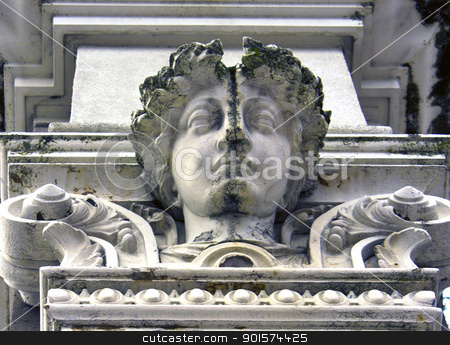 Roman Bust stock photo, An old Roman bust in downtown Portland Oregon. by Jadthree