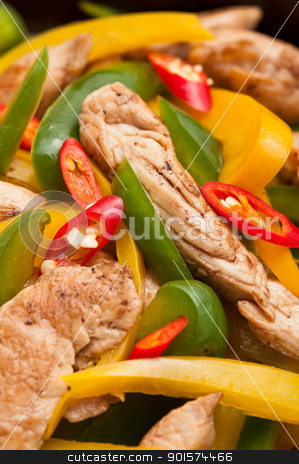 Fried Chicken with capsicum on red table cloth stock photo, Fried Chicken with capsicum on red table cloth shoot in a studio by Ulrich Schade