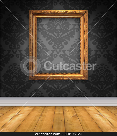 Damask Room With Empty Picture Frame stock photo, Elegant, moody room with black damask wallpaper and ornate empty picture frame by Leslie Murray