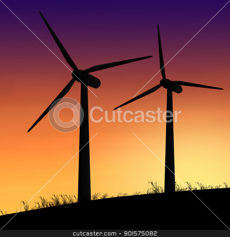 Wind turbines. stock photo, Illustration depicting two silhouetted wind turbines against a warm sunset. by Samantha Craddock