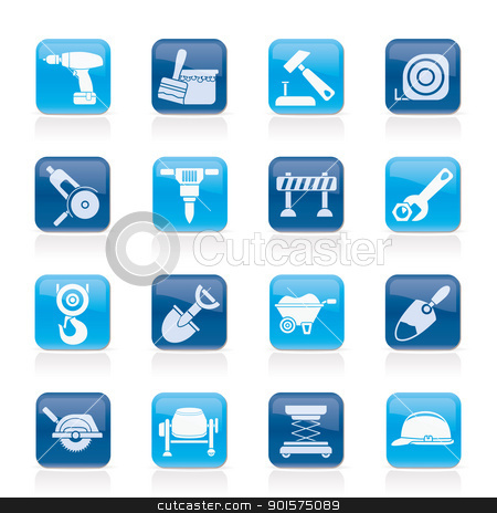 building and construction icons stock vector clipart, building and construction icons - vector icon set by Stoyan Haytov