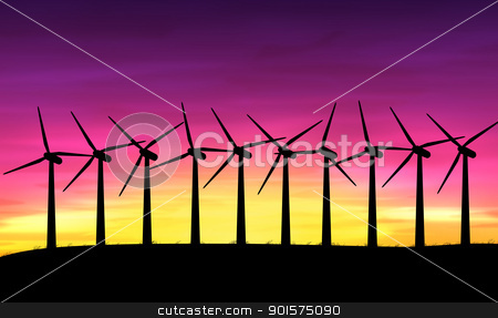 Wind turbines. stock photo, Illustration depicting a row of silhouetted wind turbines against a warm sunset. by Samantha Craddock