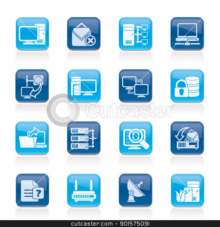 Computer Network and internet icons stock vector clipart, Computer Network and internet icons - vector icon set by Stoyan Haytov