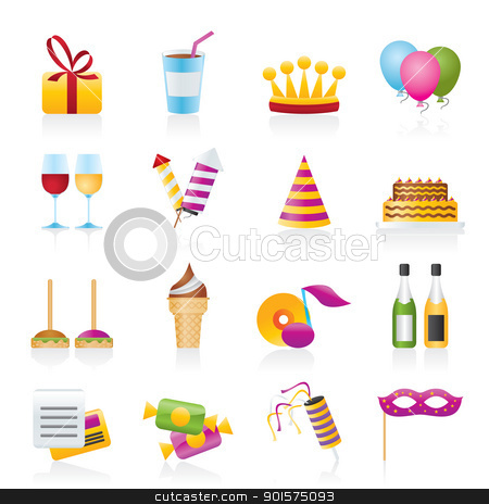 birthday and party icons stock vector clipart, birthday and party icons - vector icon set by Stoyan Haytov