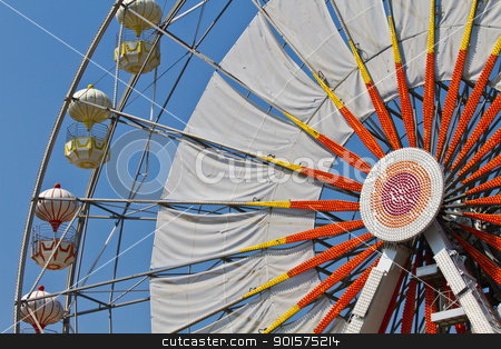Ferris wheel stock photo, Ferris wheel and blue sky by narathorn
