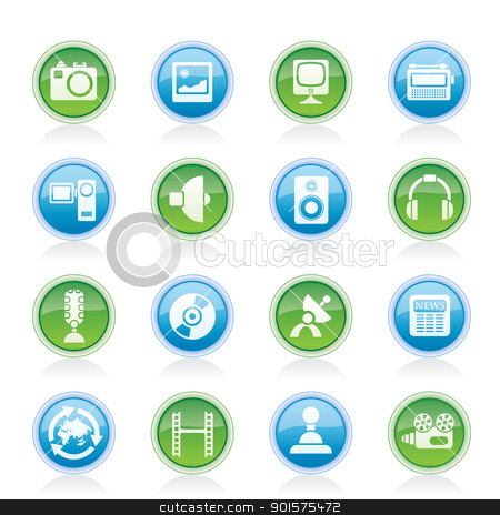 Media and household  equipment icons  stock vector clipart, Media and household  equipment icons - vector icon set  by Stoyan Haytov
