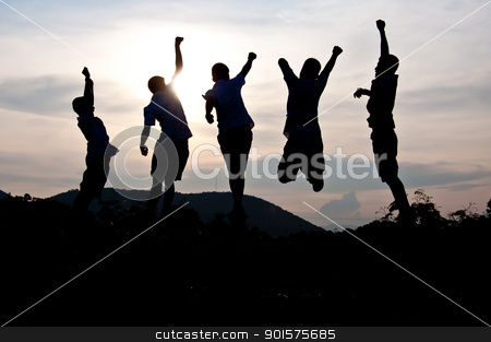 Victory and happy stock photo, silhouette of boy victory and success together by Charoen Dokkularb