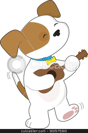 Cute Puppy Ukulele stock vector clipart, A cute puppy with tail wagging, is singing and dancing, while strumming a ukulele. by Maria Bell