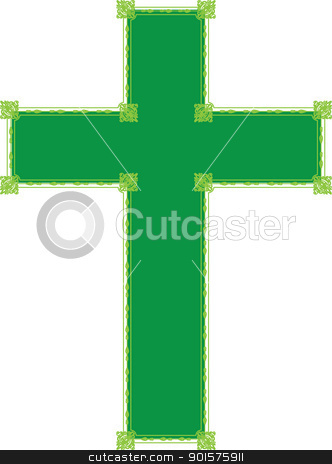 Green Cross stock vector clipart, A green cross with ornate embellishment. by Maria Bell